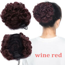100% Real Natural Clip on/in Messy Hair Afro Bun Extension Chignon Hair Piece US