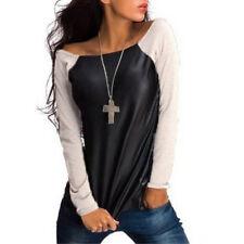 Sexy Women's Chic Fall Long Sleeve Sweatshirt T-Shirt Casual Loose Blouse Top W&