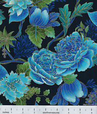 Tree of Life FLOWERS on BLACK Floral Chong-a Hwang Fabric By the FQ - 1/4 YD