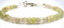 "3-4MM 925 Sterling Silver Natural Prehnite Gemstone Beads Bracelet 7"" Jewellery"