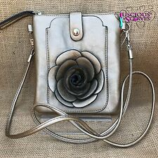 Gold Rose Small Bag with Mobile Phone Spectacle Holder Long Cross Body Strap