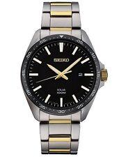 Seiko Men's Analog Solar 100m Two Tone Stainless Steel Watch SNE485