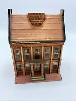 VINTAGE Wheat Straw Bamboo Wood House Trinket Jewelry Box Handcrafted 2 Pc 6""