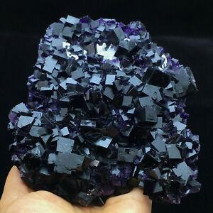 578.5g Natural Cube Deep Purple Fluorite Crystal Cluster Specimen China ZheJiang