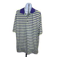 Footjoy Mens Polo Golf Shirt Size Large Purple Yellow Stripe Short Sleeve
