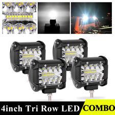4x Tri Row 4inch 200W LED Work Light Bars Spot Flood Driving Pods JEEP Truck 4WD