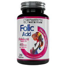 Folsäure 250 Tabletten je 400mcg Folic Acid Vitamin B9 für Frauen