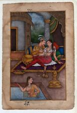 Mughal Emperor Akbar And Jodha Bai Exciting Love Scene On Paper Indian Painting