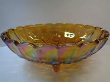 Vintage Harvest Grape Indiana Glass amber Iridescent Carnival Glass Footed Bowl