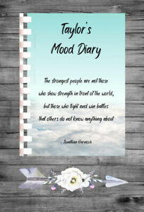 Personalised Mood Diary Tracker Mental Health Thoughts Feeling Book Journal MD42