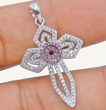 Pink Sapphire & White Topaz 925 Solid Sterling Silver Cross Pendant Jewelry