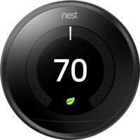 NEW Google Nest Learning Programmable Smart Thermostat 3rd Gen Black