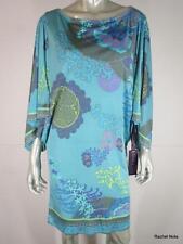NWT $305 HALE BOB L Silk Jersey Luxury Teal Multi Floral Print Sexy Dress NEW
