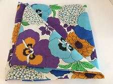 Vintage WABASSO Twin Size FLAT Bed Sheet Floral Colourful Daisies/Pansies Retro