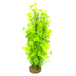 Aquarium Ornament Lime Green Plastic Plant on Stone Large 38cm