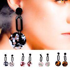 Resin Fashion Statement Earrings Tortoise Shell Acetate Boho Style Jewellery UK