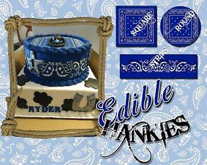 Edible Bandanna paisley pattern Birthday cake sheets Sugar paper wrap topper