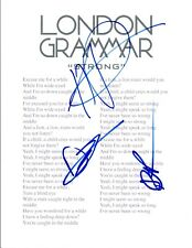 "London Grammar Signed Autographed ""Strong"" Lyric Sheet Full Band COA VD"