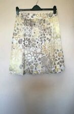 Neutral Yellow/Grey Print Pleated Cotton Skirt   M&S Autograph   Size 12   VGC