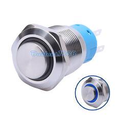 19mm Blue LED Angel Eye 12V Momentary Push Button Switch 1NO1NC High Round Cap
