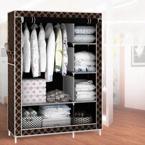 Portable Clothes Storage Fabric Wardrobe Organizer Closet Rack Shelves Home