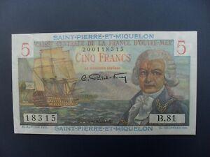 SUPERB 1950-60 SAINT PIERRE ET MIQUELON 5 FRANCS (FRANCE) BANKNOTE FRESH UNC