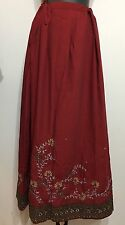 Vintage Women Long Red Cotton Hand Beaded Sexy Westernize Style Skirt Sz 28