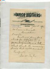 Vintage Letterhead TAYLOR BROS Scotch Caps Hats Robes Gloves Boston 1892