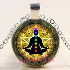 Chakra Glass Pendant Silver Chain Reiki Chakra Zen Healing Om Necklace #3555