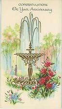VINTAGE GOLD WATER FOUNTAIN FLOWER GARDEN ROMANCE ANNIVERSARY GOD CARD ART PRINT