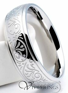 Mens Stainless Steel Ring Engraved Florentine Design Band 7mm  Size 7 to 14.5