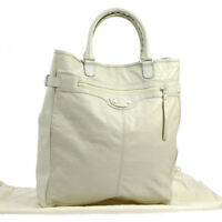 Authentic BALENCIAGA CLASSIC HEXAGON Hand Tote Bag White Leather VTG NR10550