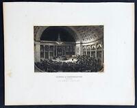 1855 Meyer Antique Print of Interior of US House of Representatives, Washington