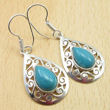 "Low Price Simulated LARIMAR Celtic Earrings 1 3/4"" ! Silver Plated Jewelry"