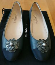 CHANEL Gray Leather Black File Captoe Pearlized Camellia Flower Flats Size 40