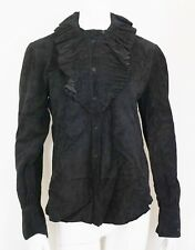 $3998 RALPH LAUREN COLLECTION Black GOAT SUEDE Ruffle Shirt Blouse US-6