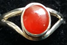 Sterling Silver Red Enamel Ring Size O