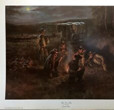 Old West Art Print of Cowboys with Horses & Chuck Wagon