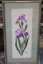 "Vintage Fine Finished Floral Needlepoint Hand Made 7"" x 19"" -  12"" x 24"" Framed"