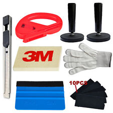 Car Wrapping Vinyl Tool Kit 3M Felt Squeegee Razor Cutter Gloves 2 Magnets Knife