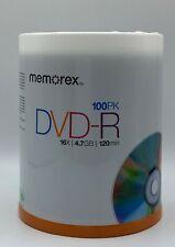 Memorex DVD-R 100 pack 4.7GB / 120 minutes each, Brand New Sealed