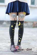 Cute Sailor Moon Moon&Star Clouds Bows Tights Fake Over-knee Stocking Pantyhose
