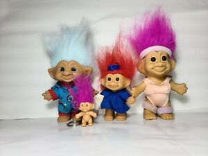TOYS - COLLECTIBLE TROLLS PINK, BLUE,  RED, QTY4