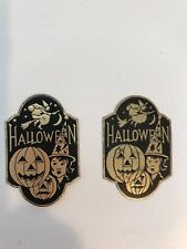 Vintage Halloween Gummed Foil Seals Stickers Witch Moon Jack O Lanterns Dennison