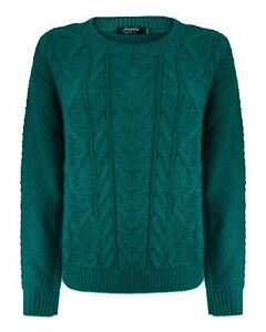 Ladies Women Knitted Long Sleeve Cable Jumper Crew Neck Baggy Sweater Pullover