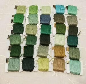 DMC Floss Lot 30 On Bobbins Green Shades