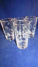LIBBEY GLASS TUMBLER WINDSOR PATTERN ETCHED FROSTED SQUARE DESIGN VINTAGE RETRO