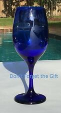 Miriam's Blue Wine Cup/Glass - Passover Etched Glass - Pesach - Judaica- Jewish