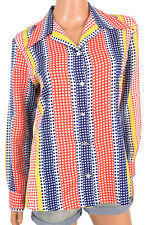 Vtg 70s 80s Blouse Retro Shirt Primary Colors Polka Dot Poly Wide Pointy Collar