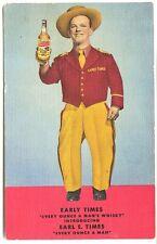 Earl E. Times Distillery Bourbon Whisky Advertising Curteich Linen Postcard